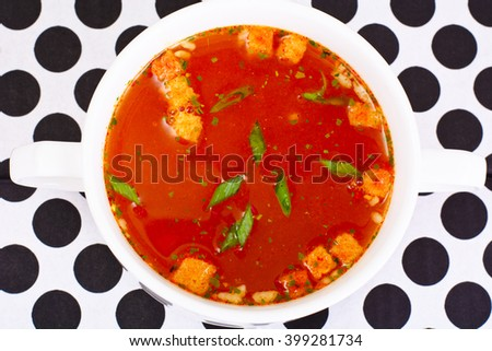 Sicilian Tomato Soup. National Italian Cuisine. Studio Photo - stock photo