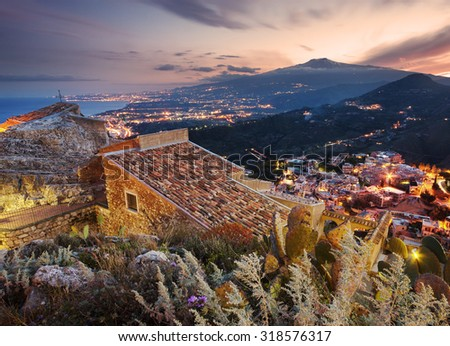 Sicily, aerial view of Etna volcano from Taormina