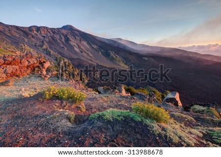 Sicily: Etna Volcano at sunrise - stock photo