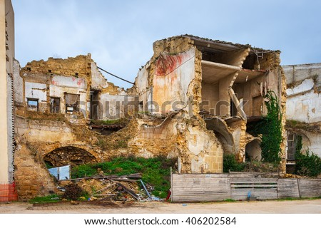 Sicily, Italy - Ruined houses survived to the Earthquake in Sicily - stock photo