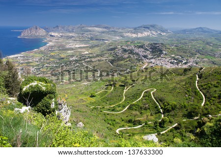 Sicily landscape of serpentine road to Erice town.