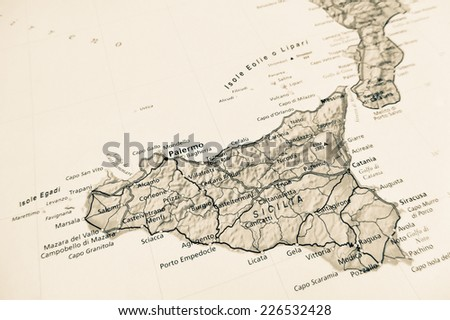 Sicily map  (Geographical view altered on colors/perspective and focus on the edge. Names can be partial or incomplete)