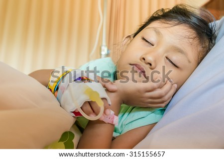 Sick Asian Ethnic Little Girl Inpatient Sleeping in Hospital Room