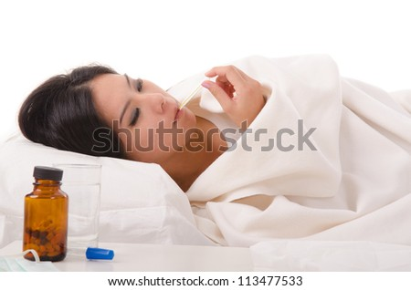 sick asian girl with high fever ,isolated on white