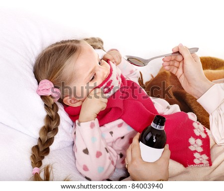 Sick child refuse to take  medicine. Isolated. - stock photo