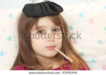 Sick girl - stock photo