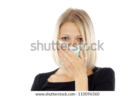 sick girl in a medical mask isolated on a white background - stock photo