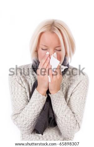 Sick lady isolated on white - stock photo