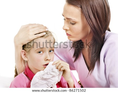 Sick little girl with mother. Isolated.