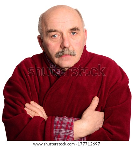 Sick man in robe on white background