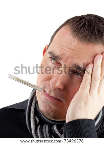 Sick man with thermometer - stock photo