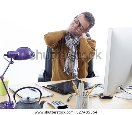 sick middle aged male entrepreneur or independent man suffering from sore neck or headache, relaxing tension and pressure in shoulders from painful business hours at his desk, white background