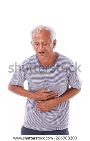 sick old man suffering from diarrhea, indigestive problem - stock photo
