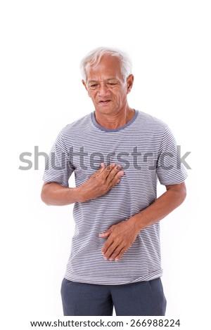 sick old man suffering from heartburn, acid reflux - stock photo