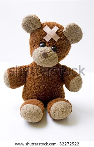 Sick teddy isolated on white. Copy space. - stock photo