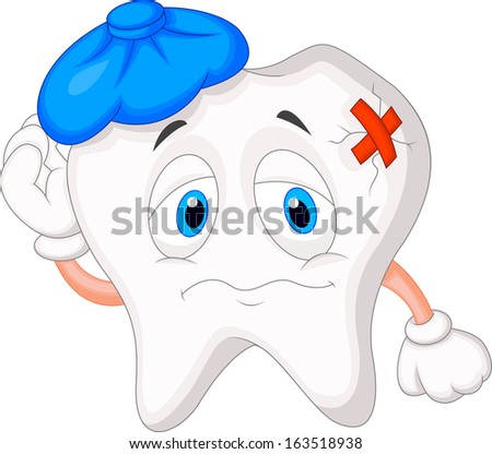 Sick tooth cartoon - stock photo