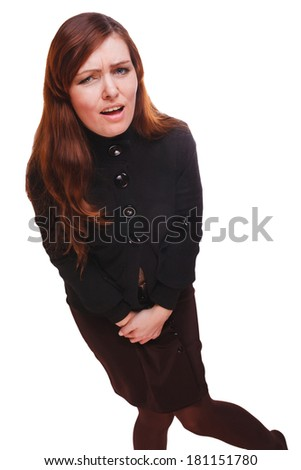 Sick woman abdominal pain and diarrhea bladder cystitis wants the toilet isolated on white background - stock photo