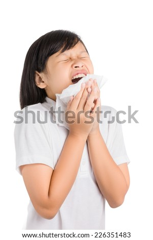 Sick woman blowing her nose isolated on white background.