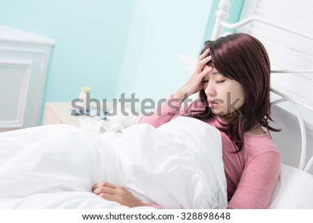 Sick Woman feel headache. Flu and Woman Caught Cold. - stock photo
