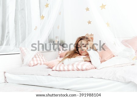 Sick Woman feel headache. Flu and Woman Caught Cold.  A Girl waking up in The Morning - stock photo