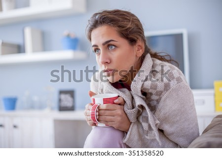 Sick Woman, Flu Woman. Caught Cold.shallow depth of field - stock photo