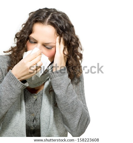 Sick Woman. Flu. Woman Caught Cold. Sneezing into Tissue. Headache. Virus. Isolated on White Background - stock photo