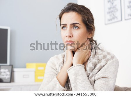 Sick Woman, Flu Woman. Caught Cold.Young beautiful woman with a throat pain - stock photo