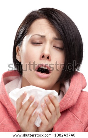 Sick woman holding wipe in her hands, isolated - stock photo