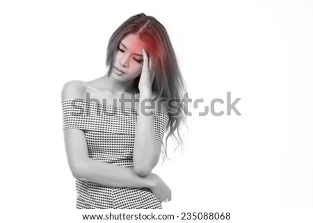 sick woman with headache, migraine, stress, insomnia, hangover in casual dress with blank space - stock photo
