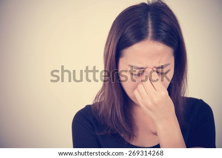 sick woman with pain, headache, migraine, stress, insomnia, hangover ,with vintage filter effect  - stock photo