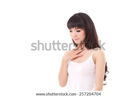 sick woman with sore throat or gerd - stock photo