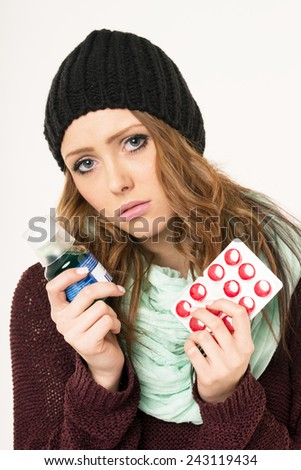 sick woman with tablets and medicines / sick woman - stock photo