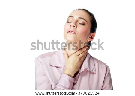 Sick young business woman with sore throat, throat pain,touching the neck with blank copy space ,Portrait Asian woman,Thai girl,Negative human emotion expression,isolated on white background - stock photo