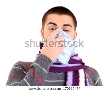 Sick young man, isolated on white