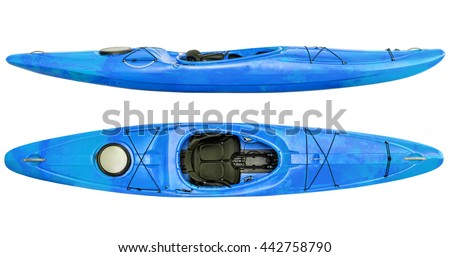 side and top view of crossover kayak (whitewater and river running kayak) isolated on white - stock photo