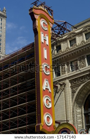 Side angled view of the infamous Chicago Theater sign