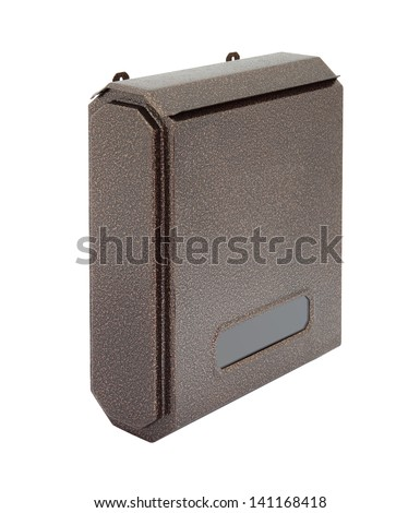 Side brown grain metal surface letter box focus near on white background.