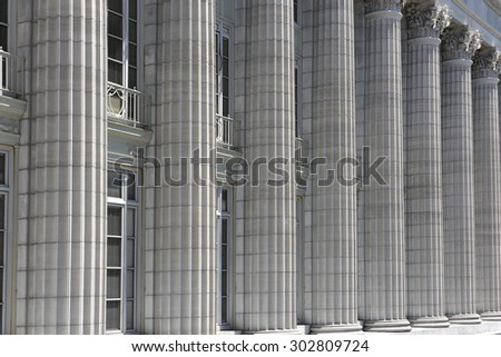 Side columns from the Missouri State Capitol building in Jefferson City, Missouri - stock photo