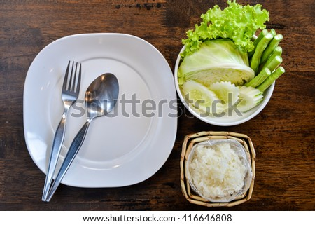 Side dish of papaya salad (Thai style food) - stock photo