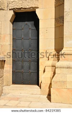 Side door of Dormition church. Old Jerusalem. - stock photo