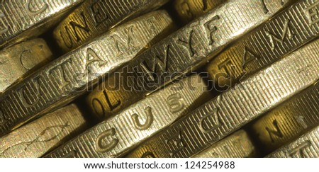 Side edge shot of British one pound coins