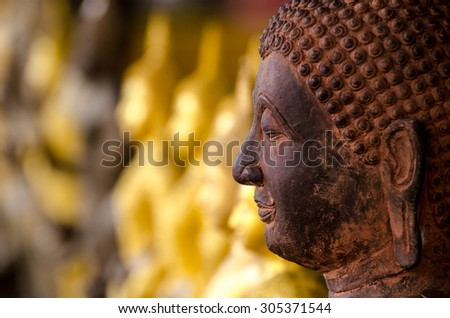 Side face of Buddha with golden Buddha on background - stock photo