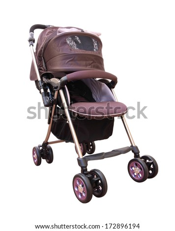 Side front pram with cover on white background. - stock photo