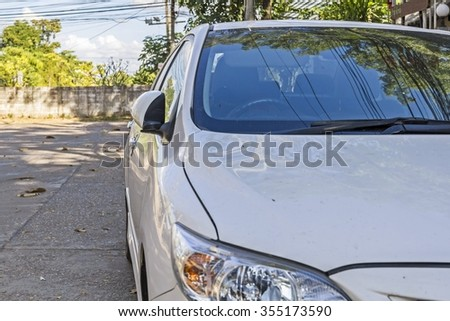 side mirror car, wing mirror fold - car side view mirror folded  - stock photo