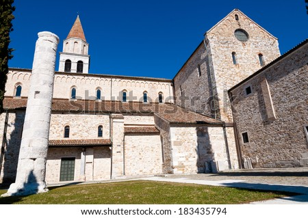 Side of Aquileia Basilica in Italy - stock photo