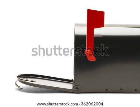 Side of Black Mailbox with Door Open Isolated on White Background. - stock photo