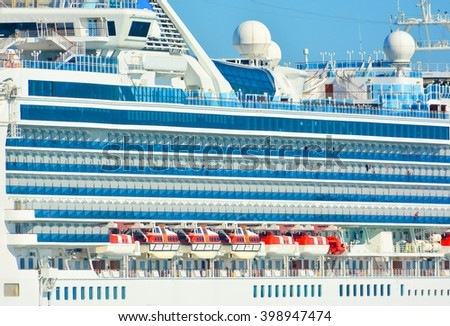 SIDE OF CRUISE SHIP  - stock photo