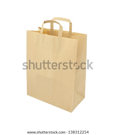 Side of paper brown bag on white background.