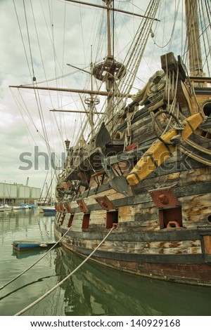 Side of the reconstruction of an old galeon - stock photo