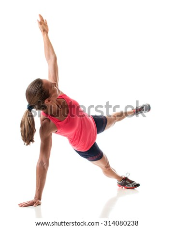 Side plank exercise. Studio shot over white. - stock photo